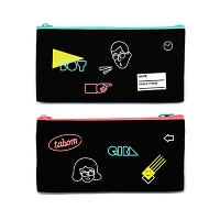 <avex mu-mo> TABOM NEON DOUBLE ZIPPER PENCIL CASE画像