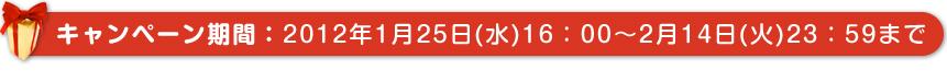 キャンペーン期間:2012年1月25日(水)16:00~2月14日(火)23:59まで