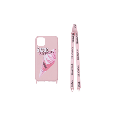 [Ice Cream] BLACKPINK LANYARD PHONECASE ICECREAM CONE PINK iPHONE X
