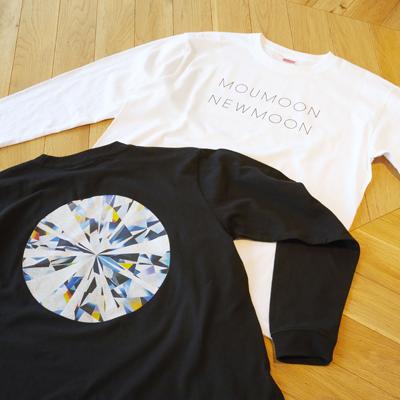 《NEWMOON》ロングスリーブTシャツ(WHITE/BLACK)