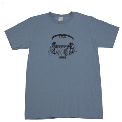 BOREDOMS ヘッドフォン柄 Tシャツ ブルー