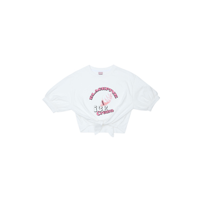 [Ice Cream] BLACKPINK T-SHIRTS TIE-UP ICECREAM CONE WHITE